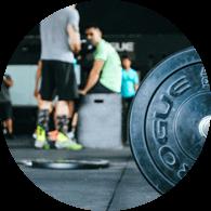 weights on floor with team talk