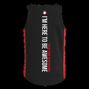 Men's black and red vest back
